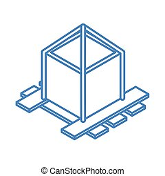 isometric repair construction wooden pallet with fixed cardboard box work linear style icon design