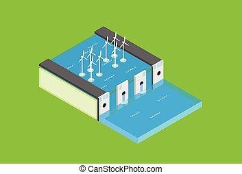 isometric, represa elétrica, topo, água, estação, recicle,...