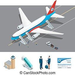 Isometric representing airport, international airlines -...