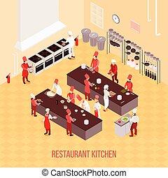 isometric, restaurang, komposition, kök