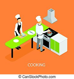 Isometric Restaurant People Cooking Template