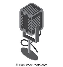Isometric Retro Microphone Icon Isolated on White Background