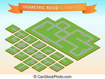 Isometric road elements. Isometric crossheads, circular motion, turns, deadlock.