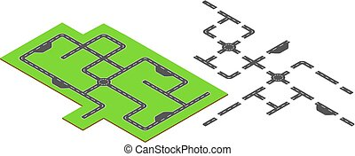Isometric road elements. Isometric vector illustration