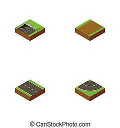 Isometric Road Set Of Single-Lane, Subway, Road And Other Vector Objects. Also Includes Footpath, Subway, Road Elements.