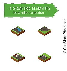 Isometric Road Set Of Subway, Road, Plash And Other Vector Objects. Also Includes Asphalt, Plash, Puddle Elements.