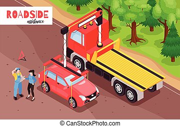 Isometric Roadside Assistance Composition