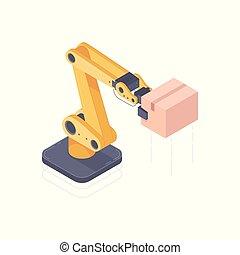isometric, robô, ilustração, vetorial, braço automatizado