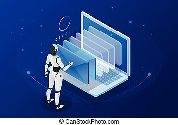 Isometric robots man with artificial intelligence working with a virtual interface in chatbot emails. Message online chat social text vector Illustration