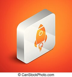 Isometric Rocket ship with fire icon isolated on orange background. Space travel. Silver square button. Vector Illustration