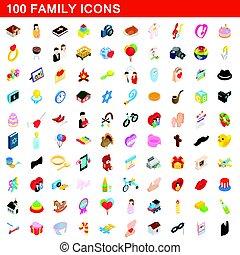 isometric, rodzina, ikony, komplet, styl, 100, 3d