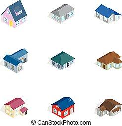 isometric, rodzina, ikony, komplet, styl, dom, 3d