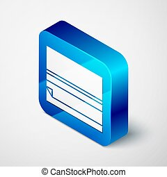 Isometric Rolling paper icon isolated on grey background. Blue square button. Vector Illustration