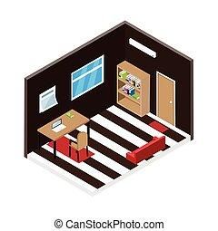 Isometric room design.