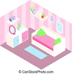 Isometric room interior. Apartment in pink colors and white furniture. Girl bedroom design with sofa, shelves, mirror. Vector illustration.