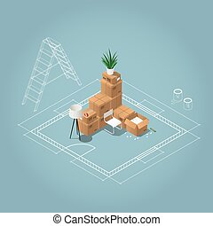 Isometric room renovation illustration