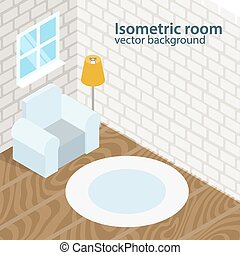 Isometric room vector background