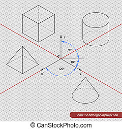 isometric, rooster, projectie, orthographic