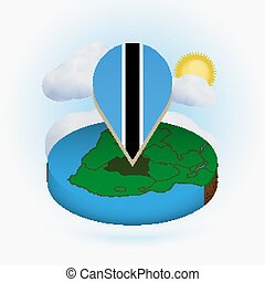 Isometric round map of Botswana and point marker with flag of Botswana. Cloud and sun on background.