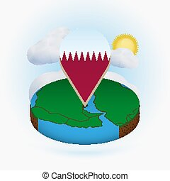 Isometric round map of Qatar and point marker with flag of Qatar. Cloud and sun on background.