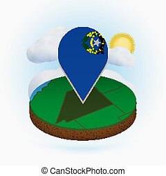 Isometric round map of US state Nevada and point marker with flag of Nevada. Cloud and sun on background.