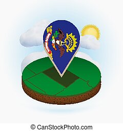 Isometric round map of US state North Dakota and point marker with flag of North Dakota. Cloud and sun on background.
