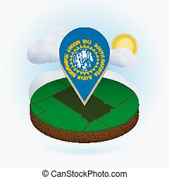 Isometric round map of US state South Dakota and point marker with flag of South Dakota. Cloud and sun on background.