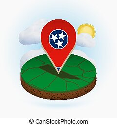 Isometric round map of US state Tennessee and point marker with flag of Tennessee. Cloud and sun on background.