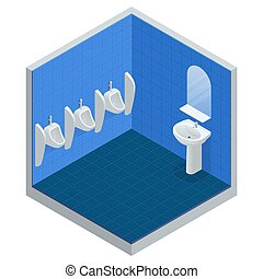 Isometric row of outdoor urinals men public toilet, Closeup urinals in men s bathroom, vector illustration of white ceramic urinals for men.