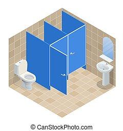 Isometric Row of white ceramic wash basin in public toilet, interior design. Vector illustration