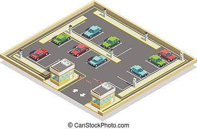 isometric, rozmieszczenie, pas, parking