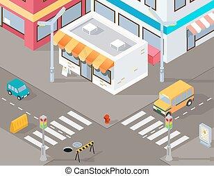isometric, rua, ilustração, vetorial, ou, estrada, 3d