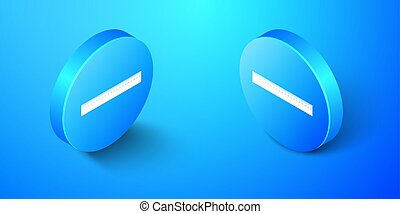 Isometric Ruler icon isolated on blue background. Straightedge symbol. Blue circle button. Vector