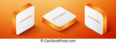 Isometric Ruler icon isolated on orange background. Straightedge symbol. Orange square button. Vector