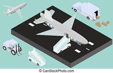 Isometric runway with airplane, stair, luggage trucks