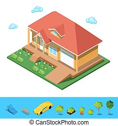 Isometric Rural Cottege Building House. Flat 3d Private...