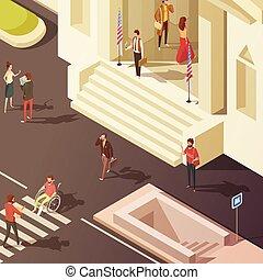 isometric, rząd, ilustracja, ludzie
