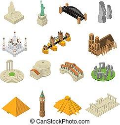 isometric, sätta, ikonen, milstolpar, berömd, värld