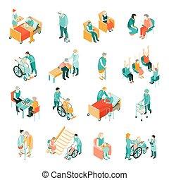 isometric, sätta, sjukvård, folk, äldre hemma