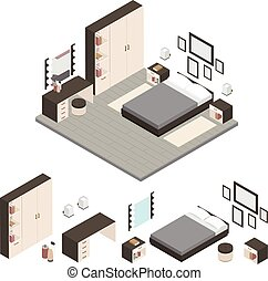 isometric, sätta, skapa, ikon, sovrum