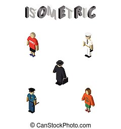 isometric, sæt, elements., person, seaman, betjenten, seaman, politi, også, vektor, guy, objects., det medtar, dame, anden