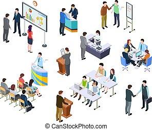 isometric, sæt, folk branche, proces, præsentation, arbejde, oplæring, vektor, forretningsmænd, hold, meeting., conference., tabel., 3