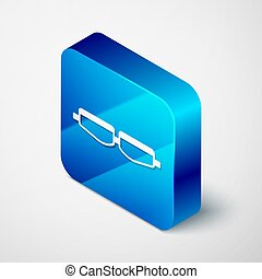 Isometric Safety goggle glasses icon isolated on grey background. Blue square button. Vector Illustration