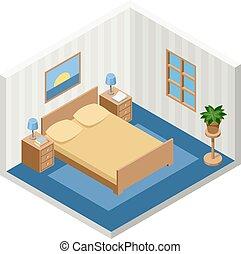 isometric, sala, cama, mobília