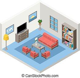 isometric, sala, mobília