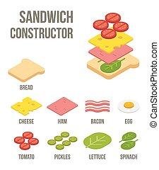 isometric, sanduíche, ingredientes