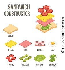 Isometric sandwich ingredients. Isolated flat vector illustration.