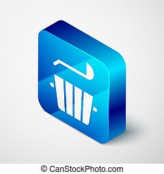 Isometric Sauna bucket and ladle icon isolated on grey background. Blue square button. Vector