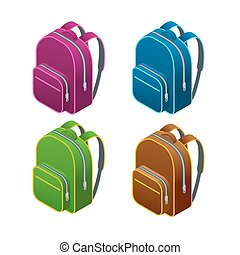 Isometric school bag. Isolated on white background