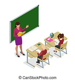 Isometric School children in classroom at lesson. Schoolroom for study. Teacher standing at chalkboard. Vector illustration